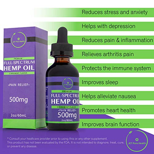 Premium Full Spectrum Hemp Oil for Pain and Anxiety- 500mg - 2 Month  Supply- Natural Extract for Arthritis- Stress, Sleep Aid and Mood Support