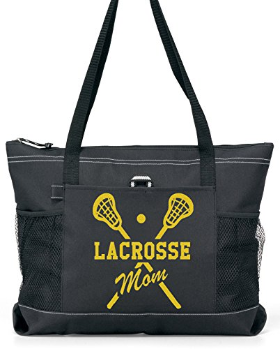 Lacrosse Mom Tote. Gold glitter on a Large Black Tote-a