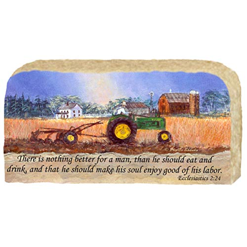 Tractor Plowing Field - Religious Scripture Ecclesiastics 2:24 - Unique Christas Gifmt, Artwork Prints on Limestone Enhanced by Hand Painted Edge - Originals Painted By Artist Phyllis Shanks - #4718