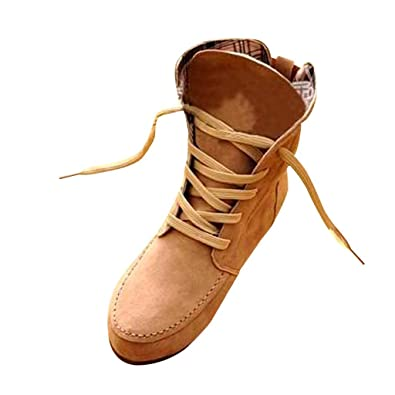 Women Flat Fashion Suede Lace-Up Martin Ankle Boots