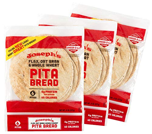 Joseph's Pita Bread Value 3-Pack, Flax Oat Bran and Whole Wheat, 7g Carbs consistent with Serving (6 consistent with Pack, 18 Pitas Total)