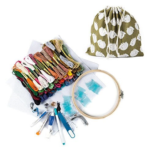 CO-Z Cross Stitch Kits, Magic Embroidery Kit with Pen Punch Needles-Embroidery Pen Set, Embroidery Patterns Supplies Punch Needle Kit Knitting Sewing Tool for DIY Threaders Sewing