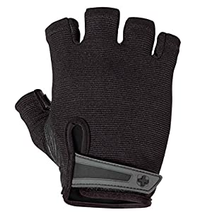 Harbinger Power Non-Wristwrap Weightlifting Gloves with StretchBack Mesh and Leather Palm (Pair), Black, Large, Large…