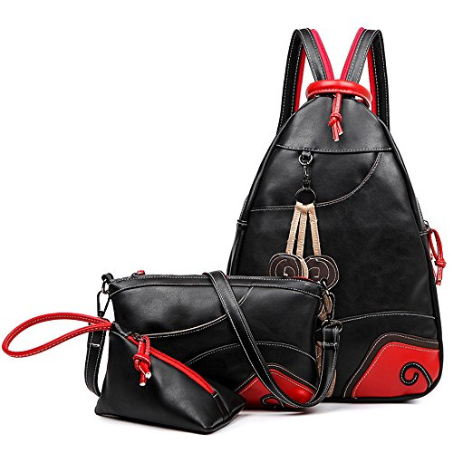 (jvp1084-b) Luck Women Pu Leather Black Super 3 Set Bolsa De Gran Capacidad 3way Back Shoulder Bag Bolso De Hombro Simple High School Student Girls Trendy Popular Cute Lightweight Negro