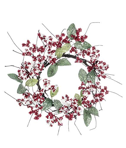 Sullivans Artificial Frosted Berries & Leaves Wreath -