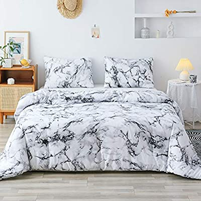 Smoofy Queen Comforter Set, White Marble Pattern Printed Bed Comforter, Soft Fabric with Brushed Microfiber Fill Bedding(1 Comforter, 2 Pillow Shams) - 【QUEEN SIZE】Comforter measuring 90 inches x 90 inches with 2 pillow shams measuring 20 inches x 26 inches. 【LUXURIOUS BEDDING】Brushed microfiber fabric is 100 percent polyester which provides an extremely soft and comfortable feel. Simple modern gift for teens, boys, girls, men or women. 【SPECIAL STITCHING TECHNIQUE】Constructed using techniques that include better stitching. Solid pattern comforter is highly durable with high tensile strength, making it strong and less likely to rip or tear. - comforter-sets, bedroom-sheets-comforters, bedroom - 51ox1VFg9hL. SS400  -