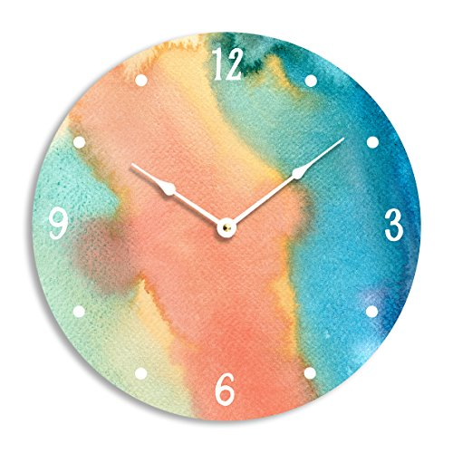Contemporary abstract watercolor design 10 inch wall clock. Full of lovely blue, yellow, turquoise and orange colors.