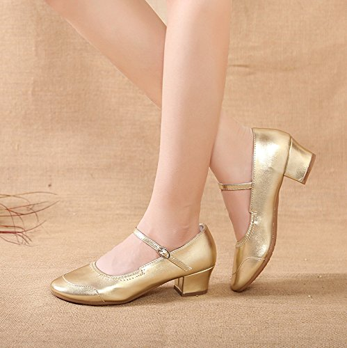 Abby 315 Womens Ballroom Party Snug Jazz Closed Toe PU Low Heel Mary Jane Square Modern Dance Shoes Golden(one Sole) PBSif4Co7
