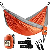 """Automotive : Double Camping Hammock - Wolfyok Lightweight Portable Nylon Hammock with Parachute Nylon Ropes and Solid Carabiners for Backpacking, Camping, Travel, Beach, Yard, 126""""(L) x 78""""(W) Support Up to 660lbs"""