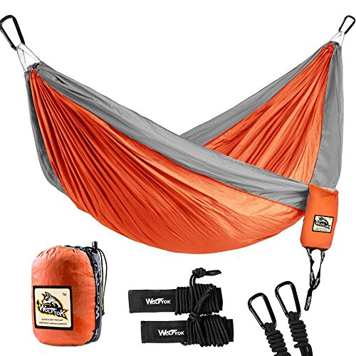 Double Camping Hammock - Wolfyok Lightweight Portable Nylon Hammock with...