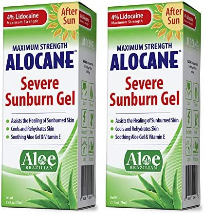 Alocane Severe Sunburn Gel, with Lidocaine, Vitamin E & Brazillian Aloe, Pain, Itch, After Sun Relief Help Soothe, Repair, Cool & Heal Sun Burned Skin, Alcohol Free Non-Irritating, 2.5 oz, Pack of 2