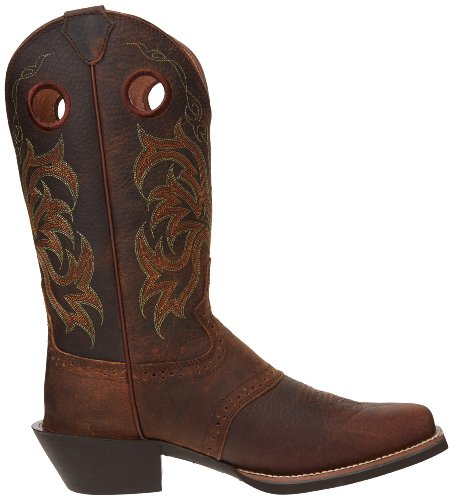 """Justin Boots Men's Stampede Collection 12"""" Punchy Boot Wide Square Single Stitch Toe,Dark Brown Rawhide,10 D US"""