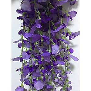 14 Pack 3.6 Feet/Piece Artificial Silk Wisteria Vine Ratta Hanging Flowers Party Wedding Decor (Purple) 3