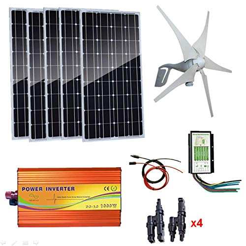 AUECOOR 900W Windmill Kit 400W Wind Turbine Generator & 5pcs 100W Mono Solar Panel