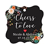Darling Souvenir Cheers to Love Bottle Tag Personalized Wedding Favor Custom Hang Tags-Floral Black-50 Tags