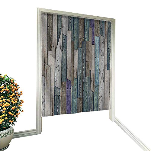 "Linen Cotton Door CurtainGrey Grunge Rustic Planks Barn House Wood and Nails Lodge Hardwood Graphic Print Noren Doorway Curtain Tapestry 36"" W x 60"" L"
