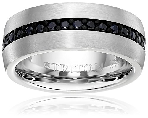 Triton Men's Tungsten 8mm Black Sapphire Wedding Band (1cttw), Size 8