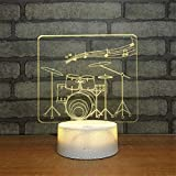 Cable Drum Coffee Table Cute Smart Touch Drum 3D Illusion Crackle Paint Base Night Light Smart Touch Switch 7 Colors Change Mood Lighting Desk Table Lamp DIY Characters Beside Lights Lighting Effects Birthday