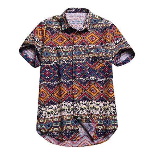 - Batik Hipster Shirts for Men,Summer Casual Baggy Button Down Short-Sleeve Blouse Holiday Beach Hawaiian Aloha Top by Leegor