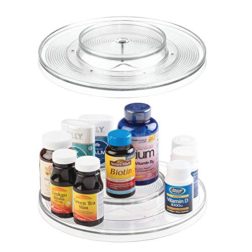 mDesign Spinning 2-Tier Lazy Susan Turntable Storage Bin - Rotating Organizer for Vitamins, Supplements, Serums, Essential Oils, Medical Supplies, First Aid Supplies - 11.5 Round, 2 Pack - Clear