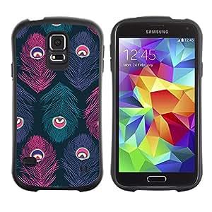 "Hypernova Slim Fit Dual Barniz Protector Caso Case Funda Para Samsung Galaxy S5 [Pavo real del trullo Rosa Púrpura""]"