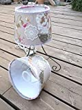 Handmade Country French, Set Smoke Cream Antique Lace Table Bedside Bedroom Lampshade