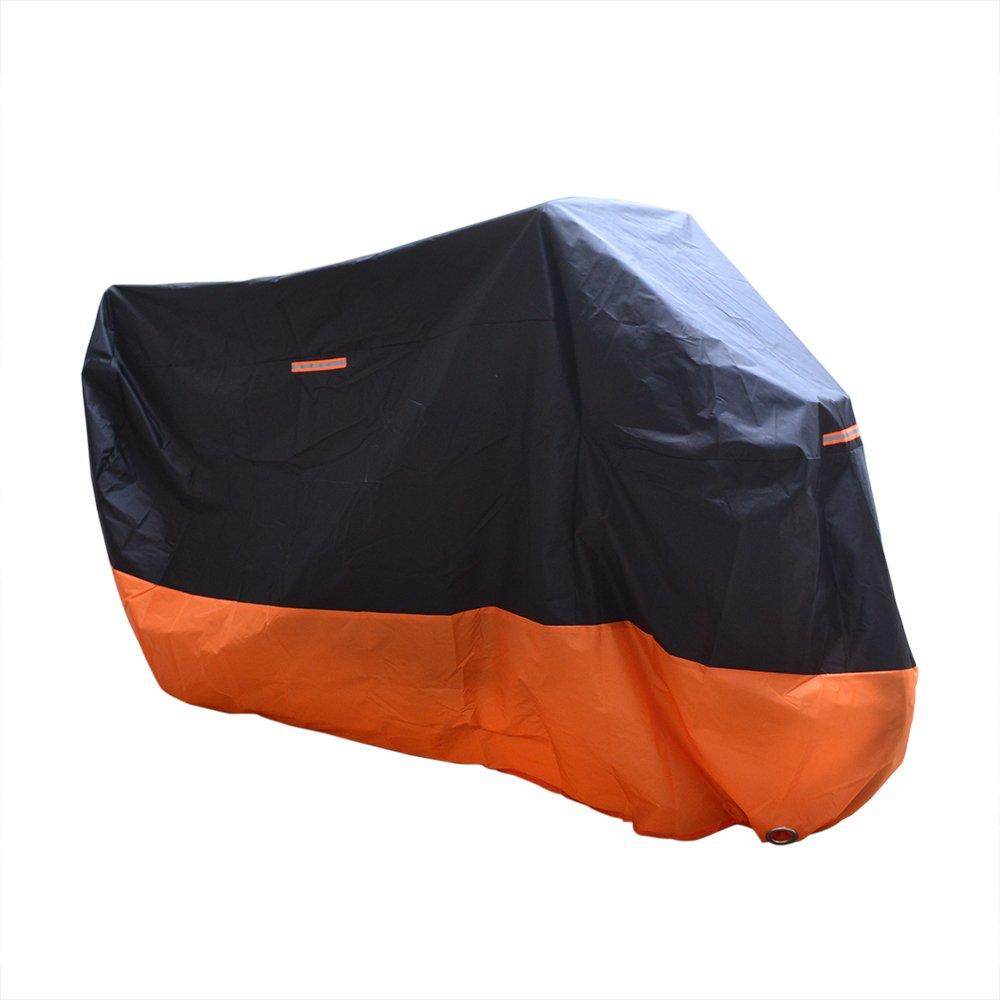 Copertura per Moto Portatile Smarcy Telo Coprimoto Impermeabile Antipolvere Nero // Arancio Taglia XL