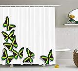 Abaysto Jamaican Buterflies Flag Motifs Caribbean Animal Illustration Rasta Culture Print Green Black Yellow Polyester Fabric Shower Curtain Sets Hooks Waterproof Mildew Bathroom Decor
