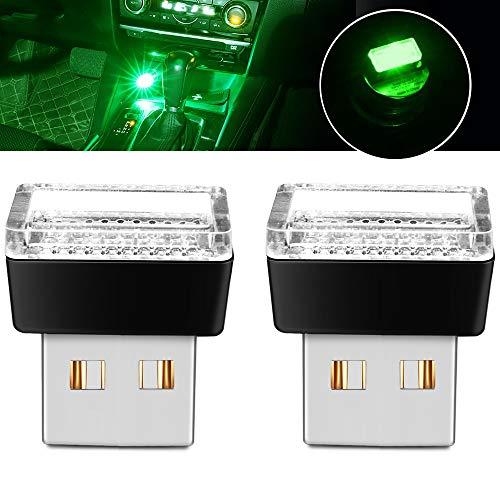 BukNikis Simple LED USB light LED Car Interior Atmosphere Lamp Car Interior Accessories lighting (Green, 2 PCS)