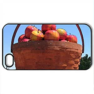 Big Apples Basket - Case Cover for iPhone 4 and 4s (Modern Series, Watercolor style, Black)