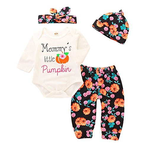 YOUNGER TREE Mommy's Little Pumpkin Baby Halloween Romper + Floral Pants + Cap + Headband 4Pcs Outfits (White, 0-6months) ()