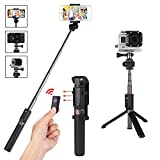 Verygoo Selfie Stick Tripod GoPro Bluetooth Remote iPhone x 8 Plus 7 6 6s Plus Android Samsung & DLSR Cameras, 4 in 1 Mini Portable Extendable Monopod Aluminum Alloy 360° Rotation(Black)