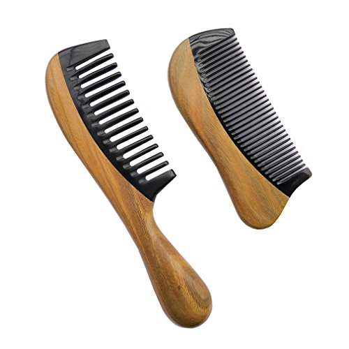 Natural Green Sandalwood Wood Comb - Sinide Handmade Premium Quality No Static Wooden Wide Tooth Comb+Fine Tooth Comb for Detangling - Natural Hair Combs with Black Buffalo Horn (Handcrafted Black Horn)