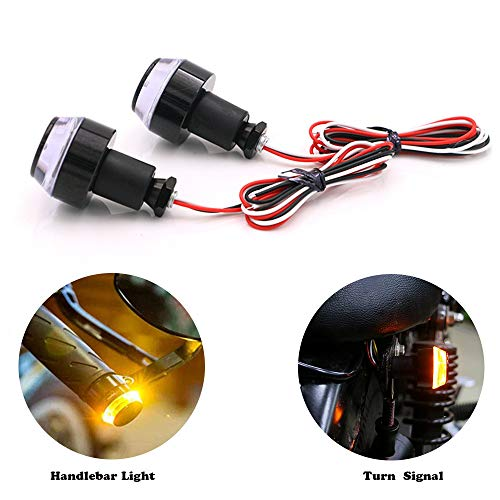 - MOOREAXE Motorcycle Handlebar End Light, 12 LED Turn Signal Lamp Scooter Blinker Flasher Resistor Front Rear Light Assembly,for Chopper Cruiser Cafe Racer Classic Vintage Motorbike