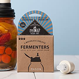 reCAP Mason Jars POUR, Wide Mouth, Canning Jar Lid, Natural 36 USE WITH RECAP POUR - Purchase the fermenters as an add-on to the reCAP POUR (sold separately) to transform your Mason Jar into a fermentation vessel. When done, simply remove the fermenter for easy storage. This 3-pack of reCAP Fermenters pairs well with our 4-pack of reCAP POUR Mason jar lids, also available on Amazon. AUTHENTIC ONE-WAY VALVE - Just as it sounds, a one-way valve allows the flow of a gas or liquid in only one direction. This is the purpose of an airlock: to allow carbon dioxide gas to flow out of the jar, and prevent oxygen (or anything else) from flowing into the jar. WATERLESS - NO maintenance or monitoring required. No need to monitor water levels, like in other airlocks. Ferment and forget about it!