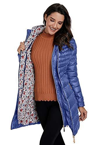 Femme Minceur Long Col Avec Veste Slim Montant Manteau À Élégant Lukis Bleu Ceinture Capuche Chaude Rembourré Hiver nZqBXOxA