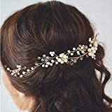 DHmart 1Pc Wedding Bridal Pearl Hairpin Handmade Headband Prom Women's Headpiece Barrettes Jewelry Hair Pins Clips Hair Accessories