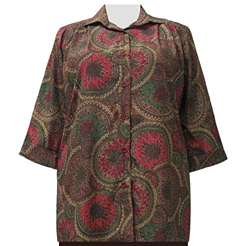 A Personal Touch Plus Size Women's Spiral Paisley 3/4 Sleeve Button-Down Tunic Blouse - 6X