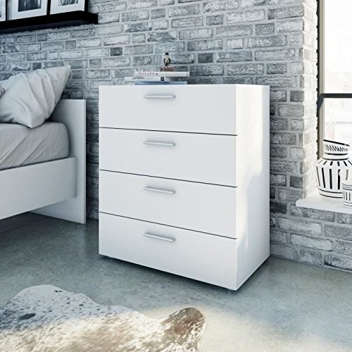 Tvilum Austin Bedroom Four Drawer Dresser in White ()