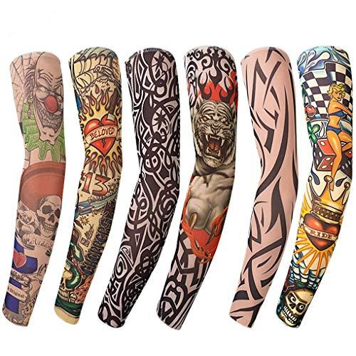 RUITASA Nylon Fake Temporary Tattoo Arm Sunscreen Sleeves,Riding Cycling Elbow Braces,Art Arm Stockings Slip Accessories, Halloween Tattoo Soft for Men Women(6PCS)