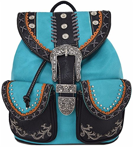 Western Style Cowgirl Country Backpack Punk Buckle School Bag Travel Biker Purse -