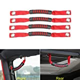 4Pcs Black Car Rear Seat Grab Handle Pull With Hole For Jeep Wrangler JK 2007-2016 (Red)