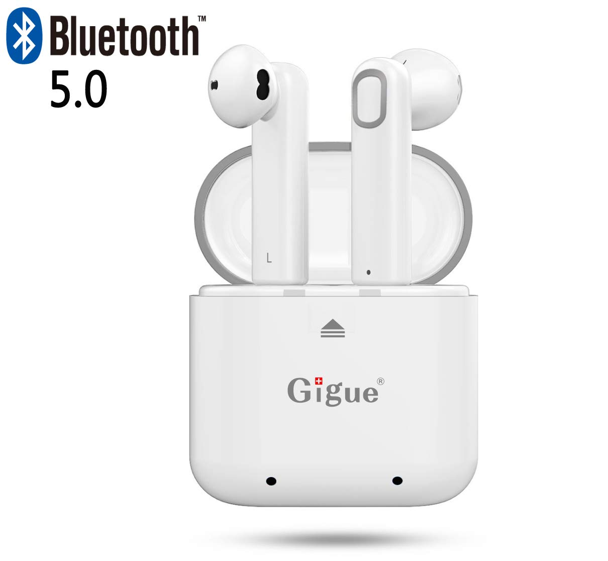 Bluetooth 5.0 Earbuds,Gigue True Wireless Earphones Portable TWS Headphone Reliable Connection for Bluetooth Devices with Charging Box White