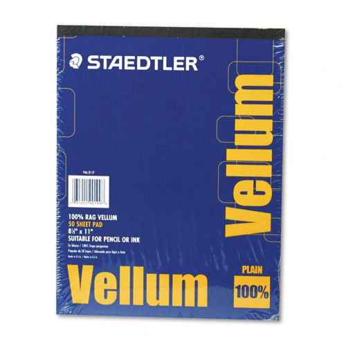 (Staedtler Mars Vellum Paper, 16#, Rag, 8.5 x 11 Inches, Plain, 50 Sheets per Pad)