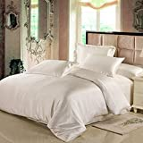 Silk Duvet Cover LILYSILK 100% Pure Mulberry Silk Silk Comforter Cover Silky and Soft Best for Skin Care Top 6A Silk Twin 67x87 Inch,Ivory