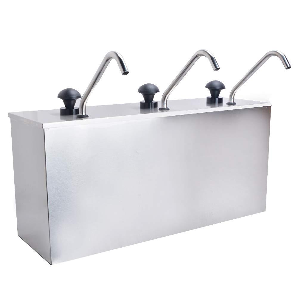 Welljoin 3 Bucket Sauce Dispenser Pump Squeeze Condiment Dispensing Stainless Steel