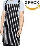 Ruvanti 2 Pack Adjustable Kitchen Apron - Professional Chef Apron with Extra Long Ties for Women/Men. Multi Pockets Black and White Pinstripe Cooking Aprons for Baking, Grilling, Cooking and Bar BQ