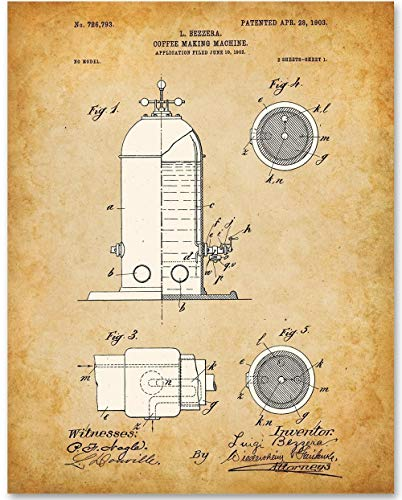 Espresso Machine - 11x14 Unframed Patent Print - Great Gift for Baristas and Coffee Shop Decor ()