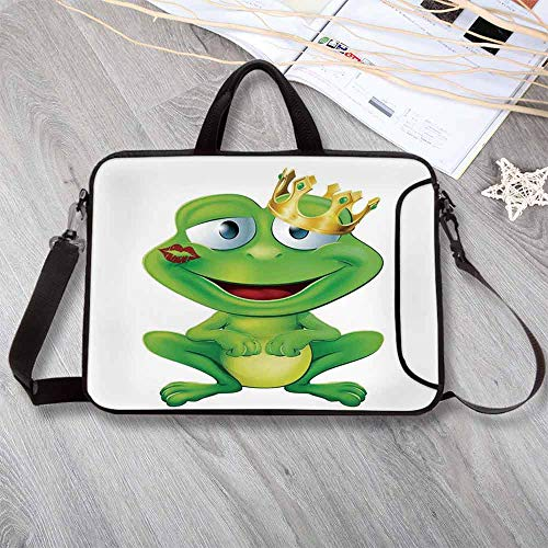 Animal Decor Lightweight Neoprene Laptop Bag,Cute Frog Prince Cartoon Character with Gold Crown and Lipstick Mark on His Lips Love Print Laptop Bag for Laptop Tablet PC,14.6