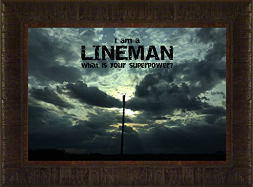 Lineman By Todd Thunstedt 17.5x23.5 Inspirational Utility Service Electric Power Line Religious Bible Verse Sunset Clouds Quote Saying Framed Art Print Wall Décor Picture